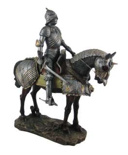 Medieval Knight On Horseback Statue Figure Armor