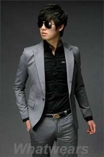 Mens Fashion Stylish Slim Fit One Button Suit Black J35