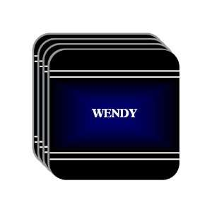 Personal Name Gift   WENDY Set of 4 Mini Mousepad Coasters (black