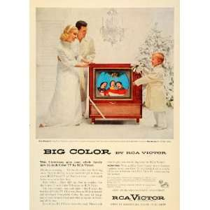 1955 Ad Big Color Television RCA Victor Christmas Tree