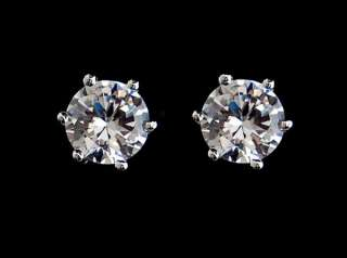 Unique Ear Studs 18K White Gold Plated GP Swarovski Crystal 1CT