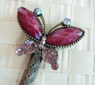 VARY COLORS SWAROVSKI CRYSTAL BRONZE BUTTERFLY HAIR STICK PIN PICK 557