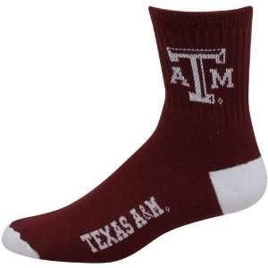 NCAA Texas A&M Aggies Maroon Team Logo Crew Socks Sports