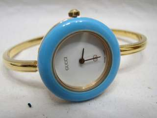 MODEL 1100 L LADIES BANGLE WRIST WATCH W/BOX 12 BEZELS 1100L