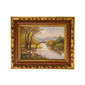 Style Oil Painting  High Quality Painting Man Fishing 18 1/4 X 22 1