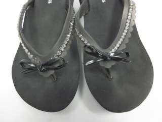 SPARKLICIOUS Black Rhinestone Thong Sandals Wedges Sz 8