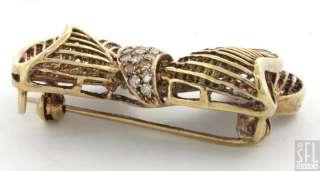 RETRO 1950s 14K GOLD .85CTW DIAMOND/RUBY BOW/RIBBON BROOCH/PENDANT
