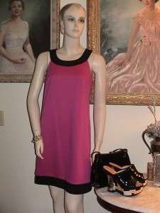 Ann Taylor Loft mod pink black knit color block shift cocktail dress
