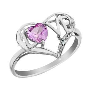 Created Pink Sapphire Love Heart Ring with Diamond 2/3 Carat (ctw) in