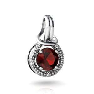 14K White Gold Round Genuine Garnet Love Knot Pendant Jewelry