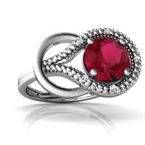 14K White Gold Round Created Ruby Love Knot Ring Size 4 Jewelry