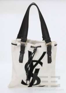 Yves Saint Laurent Natural Canvas & Black Velvet Kahala Small Tote Bag