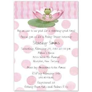 Lily Pad on Pink Baby Shower Invitations   Set of 20 Baby