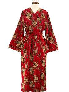 Womens Long Oriental Red Cotton Robe with Kimono Collar  Asian Beauty