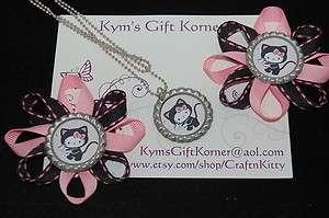 Hello Kitty Black Kitty Bow & Necklace Set* Handmade