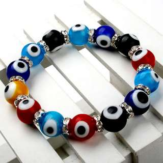Multicolor Lampwork Glass Evil*Eye Bead Bangle bracelet