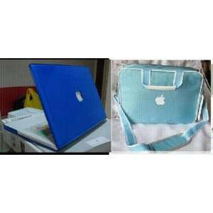 Blue Crystal Hard Case Cover+ Blue Carrying Bag For Apple