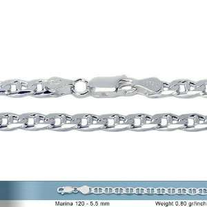 5mm Italian Sterling Silver Flat Gucci Mariner Link Chain Necklace