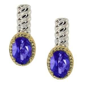Tanzanite Blue Mystic Topaz Silver 10k Yellow Gold Earrings Jewelry