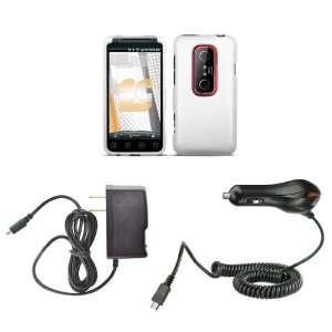 HTC EVO 3D (Sprint) Premium Combo Pack   White Rubberized Shield Hard