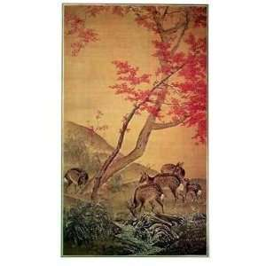Deer And Maple Tree Poster Print