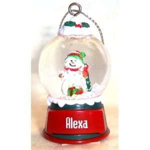 Alexa Christmas Snowman Snow Globe Name Ornament