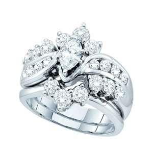 2 Carat Marquise Round Diamond 14k White Gold Bridal Set Ring