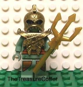 Lego Atlantis Portal Emperor Minifig w/ Gold Armor, Helmet & Trident