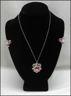 BIG PINK RHINESTONE CENTER Vintage NECKLACE Earring SET