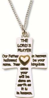 Lords Prayer Cross Fashion Necklace Silver & Gold Double Sided Plated