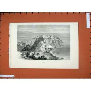 1882 View Monaco France Castle Cliffs Sea Country Print