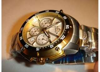 NEW ASPECTA SWISS MENS CHRONOGRAPH TWO TONE STAINLESS STEEL WATCH $