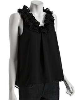 Romeo & Juliet Couture black chiffon ruffle neck sleeveless blouse
