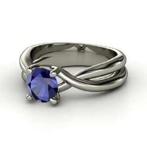 Entwined Ring, Round Sapphire 14K White Gold Ring Jewelry