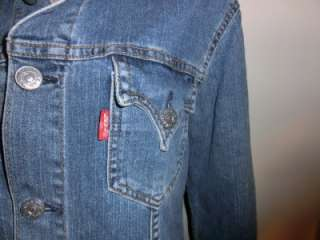 LEVIS Blue Jean Jacket Large Junior Womens Designer