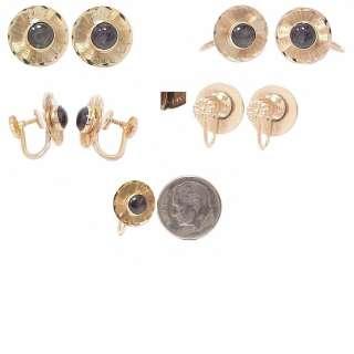 Rare Retro Deco 14K Gold & Black Star Sapphire Earrings