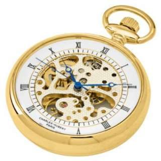 Charles Hubert, Paris Gold Plated Open Face Mechanical Pocket Watch