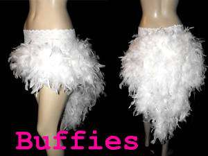 Burlesque Moulin Rouge White Feather Bustle Skirt Black Pink White Red