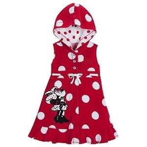 Minnie Mouse Swimsuit Cover Up Hooded Swimwear Red with