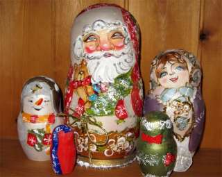 The first doll is Father Christmas or Father Frost (Ded Moroz) as