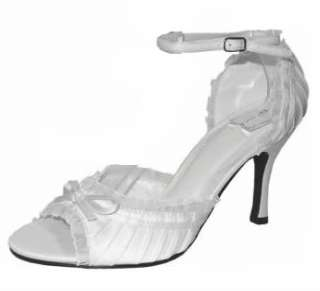 WOMENS SHOES WHITE SATIN HIGH HEELS WEDDING/BRIDAL/DEB