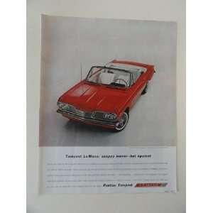 1962 Pontiac Tempest LeMans car. Vintage 60s full page print ad. (red