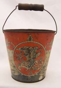 Very Old Childs Tin Sand Pail, Bucket American Flags, Eagle, Red