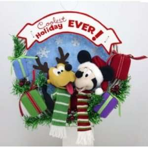 13 Inch Mickey Mouse and Pluto Reindeer Wreath Christmas Holiday Decor