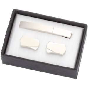 Unique Two Tone Matte Silver Cuff Links & Tie Bar Set Everything Else