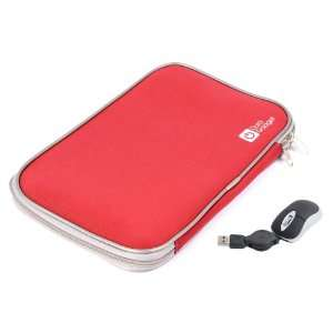 Red 16 Neoprene Laptop Zip Case With USB Mini Mouse (Fits Acer Aspire