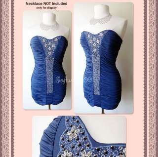 NWT Indigo Blue Embroidery Beads Embellished Ruched Fitted Cocktail
