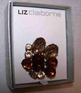 Liz Claiborne Pin Brooch AMBER & RUBY Rhinestone $36