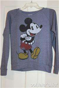 DISNEY Mickey Mouse Soft Blue Long Sleeve T Shirt Tee