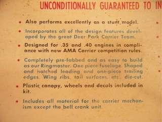 Sterling Douglas A2D 1 Skyshark Kit# S 28, 34 WS Control Line Model